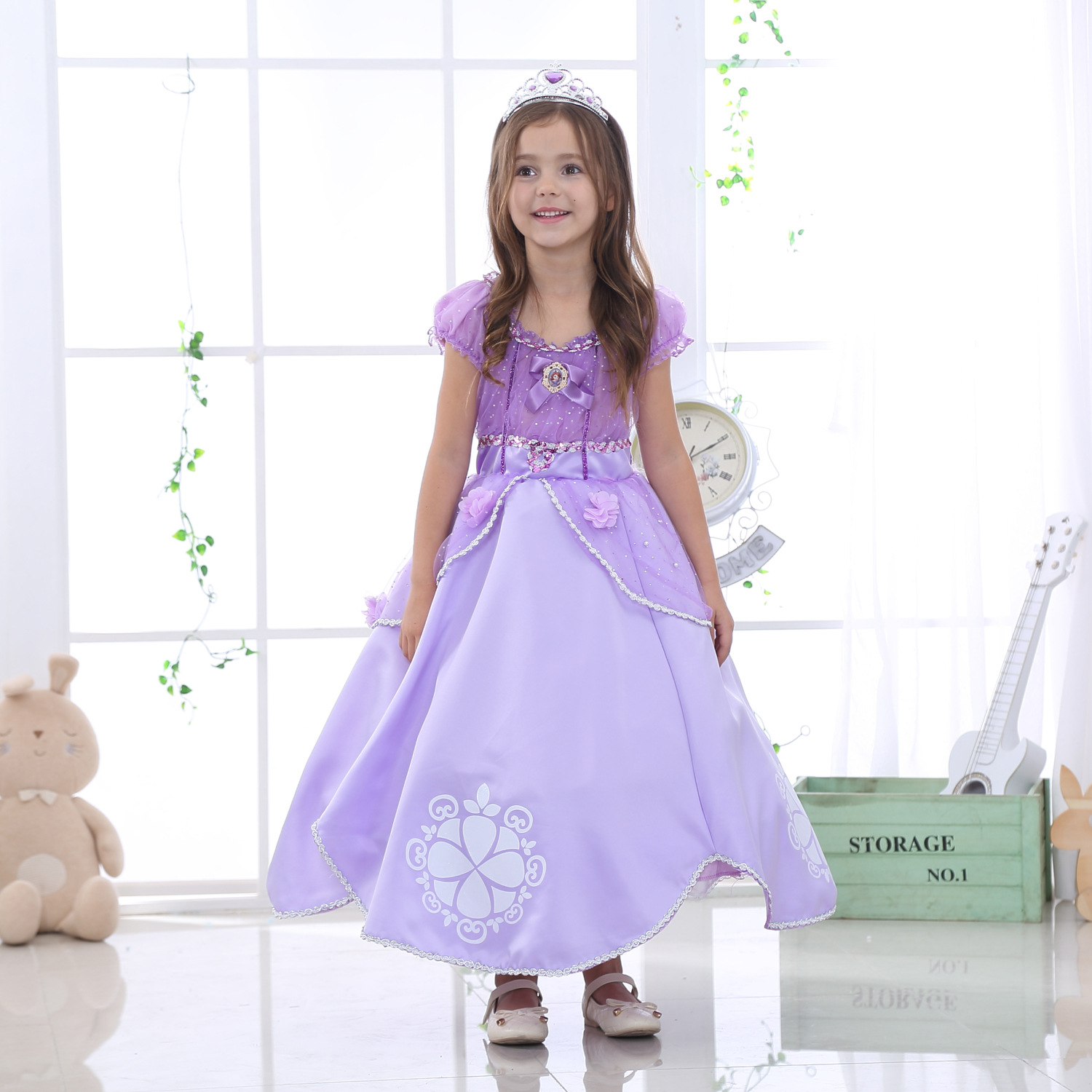 Sofia Cosplay Princess Summer Dresses Girls  Costume 5 Layers Children Kids Halloween Birthday Party Dress