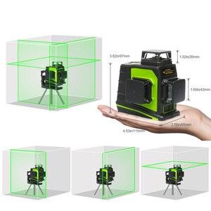 Image 3 - Huepar 12 خطوط ثلاثية الأبعاد عبر مستوى خط الليزر الذاتي التسوية 360 درجة عمودي وأفقي الصليب الأخضر الأحمر شعاع خط USB شحن