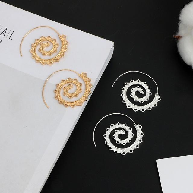 Ornate Swirl Hoop Earrings
