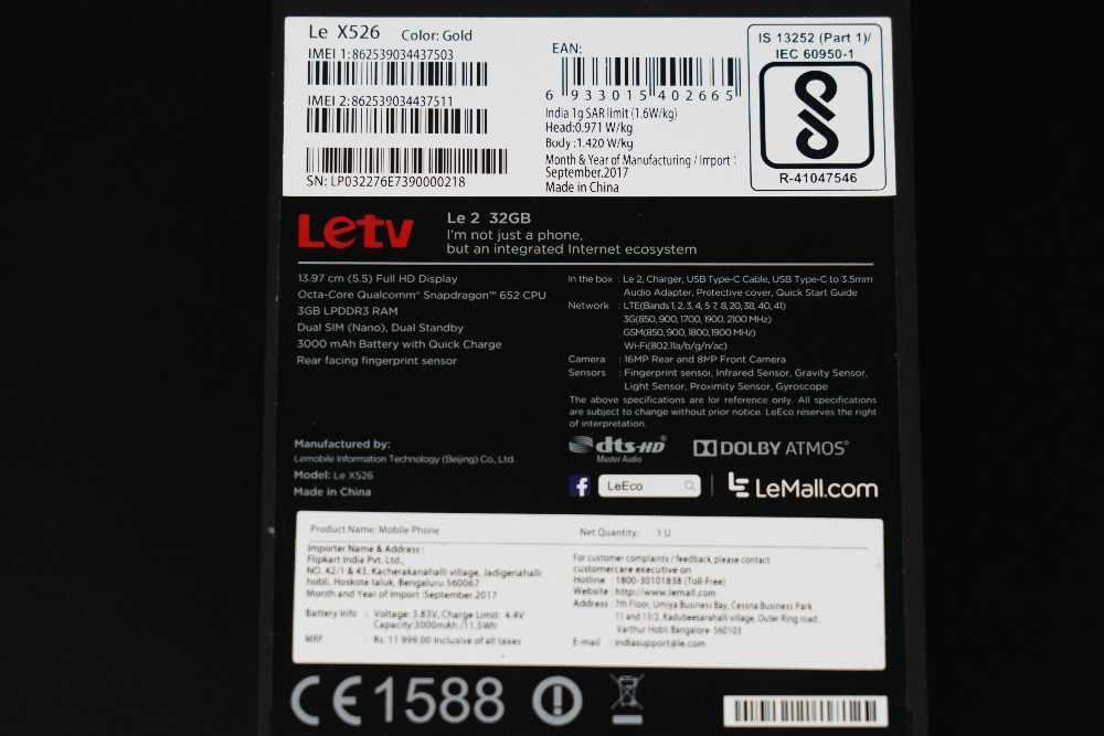 "Глобальная версия Letv LeEco Le 2X526 3g 64G Snapdragon 652 Octa Core 5,5 ""FHD 16MP камера 3000 мАч батарея мобильный телефон"
