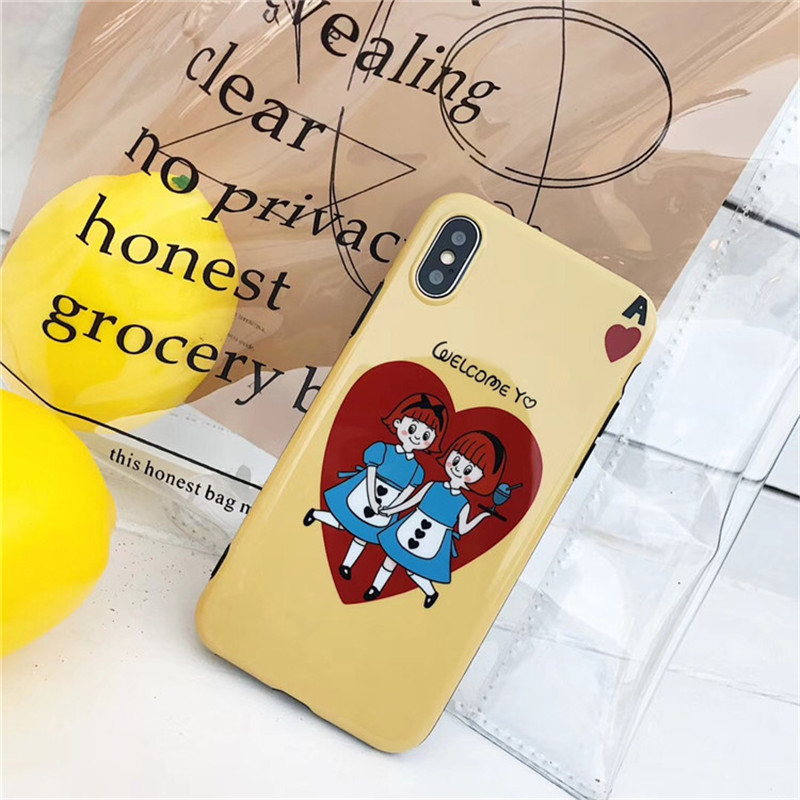 Cartoon Lovely Girl Phone Case For iphone 6 6s 7 8 plus Case Fashion Glossy Soft TPU Cover For iphone X Cute Cases Friend Gift
