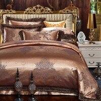 Jacquard Luxus bettwäschesatz König Queen-size Bett gesetzt Seide Baumwolle Spitze bettbezug-set Bettlaken Kissenbezüge 4 stücke Großhandel preis