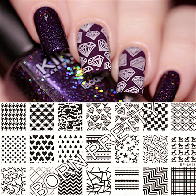 Born Pretty Nail Stamping Plates Heart Diamond Grids Art Stamp Template Image Plate Manicure