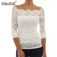 Hollow Out Lace Blouse 2019 Summer Long Sleeve White Red Blue Blouse Black Shirt Women Sexy Slash Neck Tops Blouse Blusas(China)