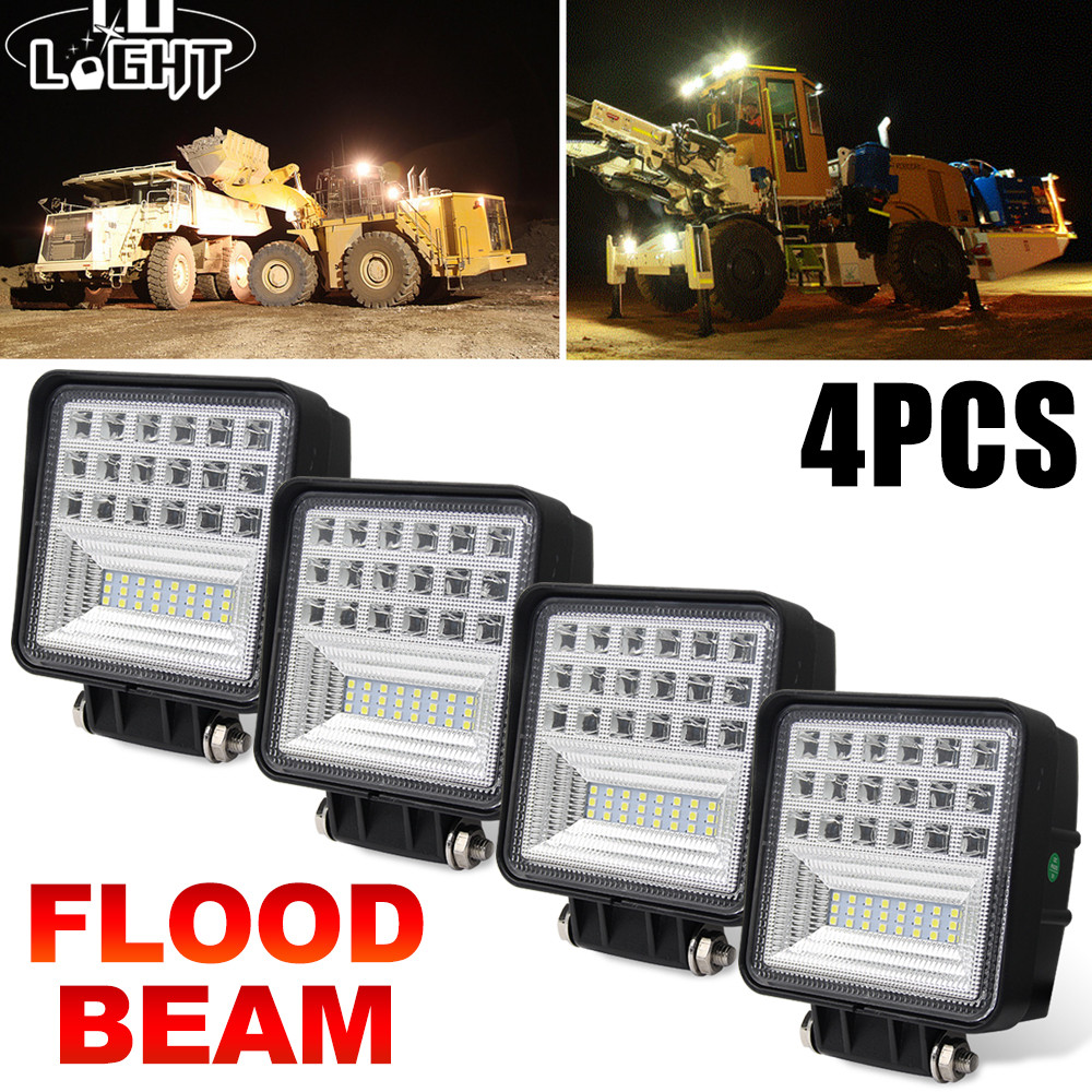 CO LIGHT 2pcs/4pcs 63W 4.3 inch LED Work Light Bar Flood Auto Driving Worklight for Car Truck Trailer SUV Off Road 4X4 12V 24V 2pcs dc9 32v 36w 7inch led work light bar with creee chip light bar for truck off road 4x4 accessories atv car light
