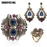 3 stks Sieraden Sets Hot Bangle Earring Ring Bohemian Vintage Hars Sieraden Antiek Goud Kleur Indian Vrouwen Bruiloft Bloem Bijoux