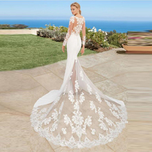 Long Sleeve Mermaid Wedding Dress Scoop Appliques Lace Beach Bride Illusion Train Princess Gown