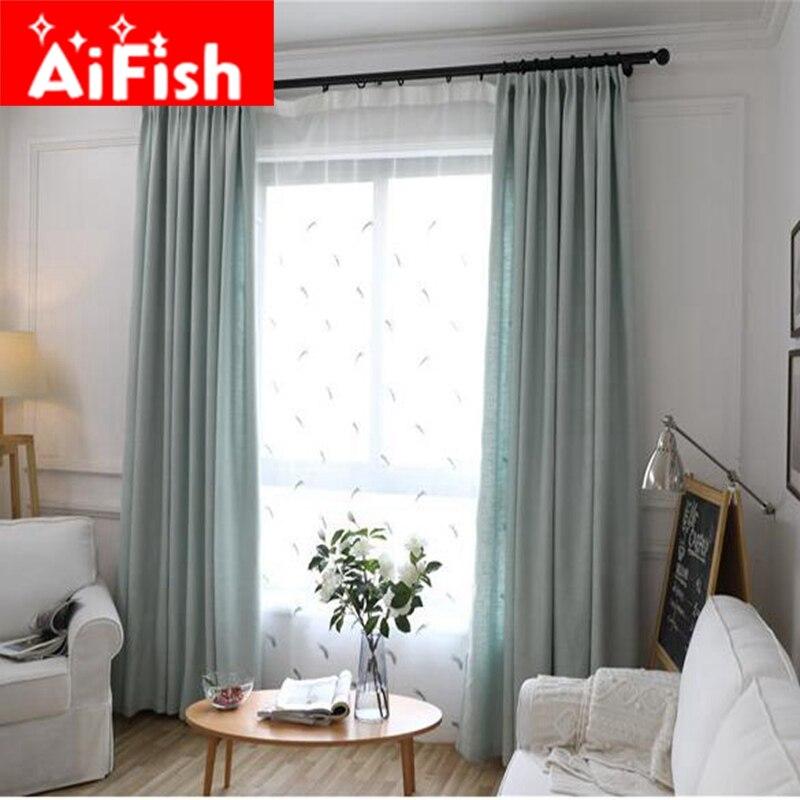 ⓪Lino natural ecológico sencilla cortina moderna Telas sólido