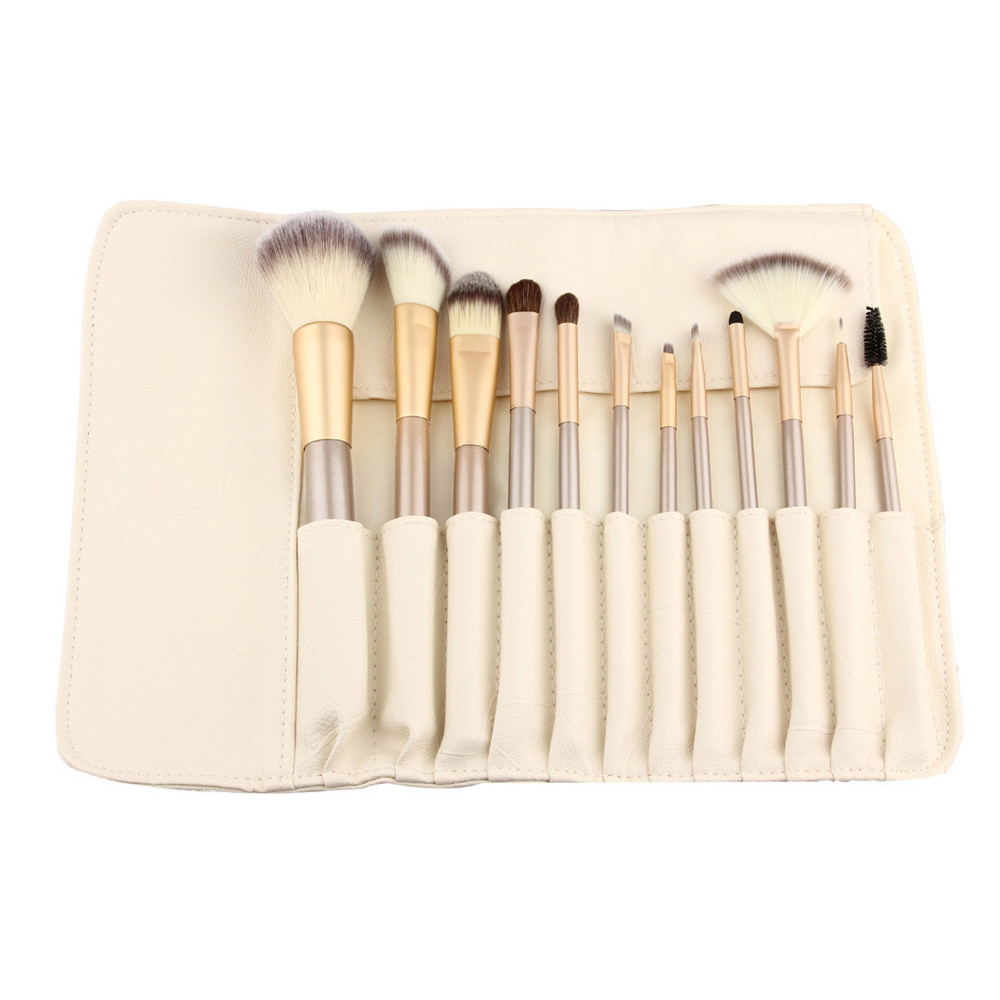 12pcs Rose gold Makeup Brushes set Foundation Eyeshadow eyebrow professional make up brush Cosmetics with Leather Toiletry Kits