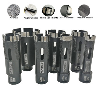 DT-DIATOOL 1 PC Laser Dilas Segmen Turbo Dry Diamond Hole Saw Dry Drilling Bit Inti M14 Benang untuk Granit Keras marmer