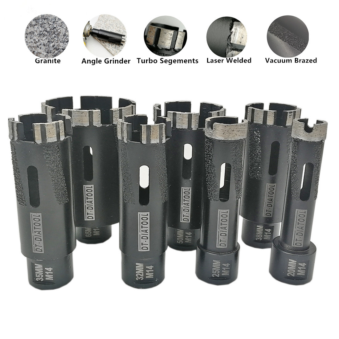 DT-DIATOOL 1pc Laser Welded Turbo Segments Dry Diamond Hole Saw Dry Drilling Core Bits M14 Or 5/8-11 Thread For Granite Marble