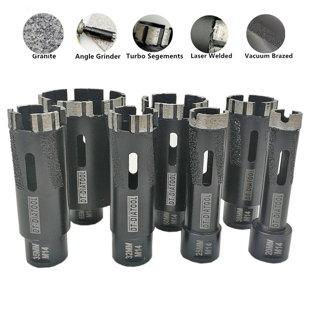 DT-DIATOOL 1pc Laser Welded Turbo segments Dry Diamond Hole Saw Dry Drilling Core Bits M14 Thread for hard granite marble