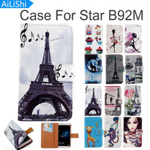 AiLiShi Flip PU Leather Case For Star B92M Case Fashion Cartoon Painted Protective Cover Skin With Card Slot