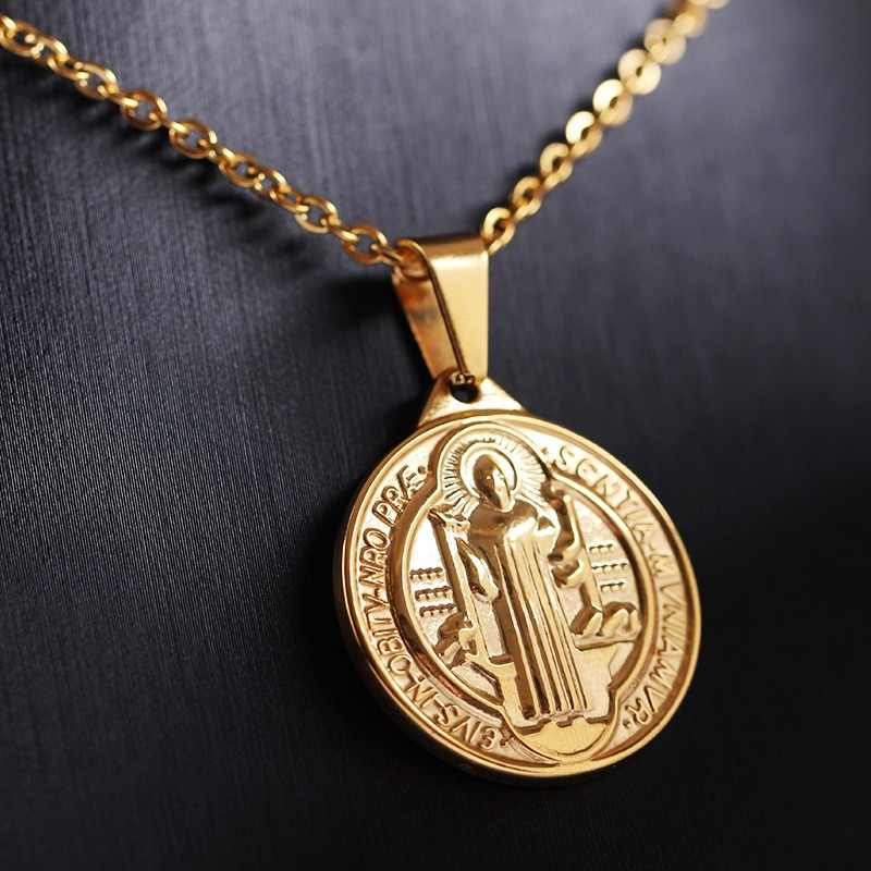 Religious San Benito Medal Necklace Stainless Steel Vintage Medalla Saint Benedict Cross Necklace Pendants For Women Men Jewelry