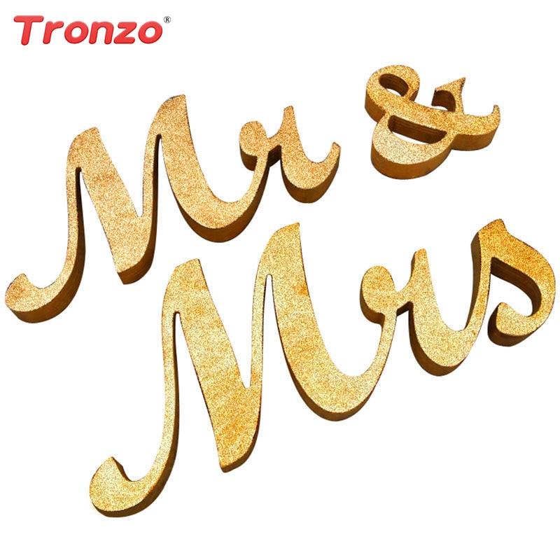 Tronzo золото Mr & Mrs деревянные буквы Топ Украшение стола Романтические свадебные знак брак Photo Booth Опора вечеринок