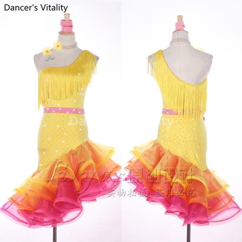 Latin Dancing tassel Dress Women High Qaulity Custom Made Tango Rumba Samba Cha-cha Latin Yellow Latin Competition Dance Dresses