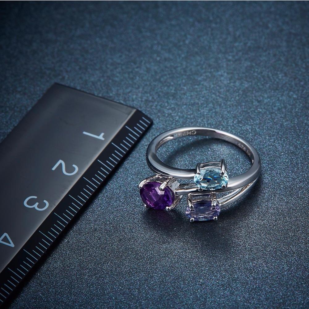 Hutang Aquamarin Ringe 925 Sterling Silber Natürliche Amethyst - Edlen Schmuck - Foto 3