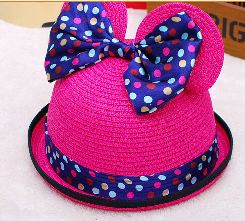 50pcs/lot fedex fast free shipping girl summer straw dot cat ear sun hat chidren casual beach cartoon kid hat  free