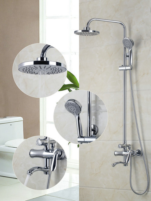 Wall Mounted Rain Shower Faucet Set 8Round Shower Head Bathroom 53055 Bathtub Shower Water Tap Faucets,Mixers Taps