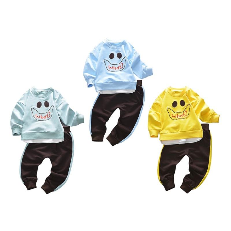 Для маленьких мальчиков осень топ с длинными рукавами с рисунком + Твердые полные штаны наборы дети Дети Высокое качество Мягкий хлопок Active ...