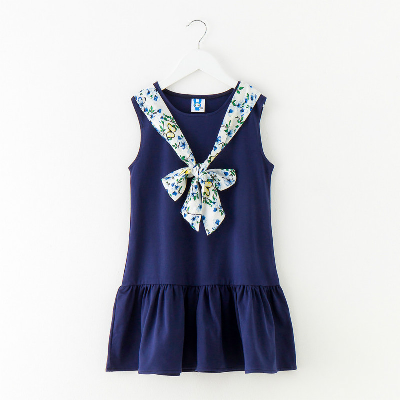 Tanggetu 2018 New Girls Spring Summer Dress for Child Easy Causal Contrast Dress Bow Tie Princess Dress Pink and Dark Blue 2018 new spring baby girls dress pink