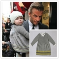 2016 newest baby girls cotton knitted princess sweater dress kids autumn winter sweaters 1-5Y high quality