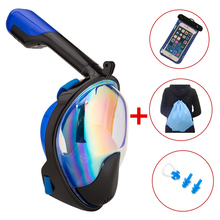 ФОТО snorkeling mask diving mask underwater scuba plating 180 degree wide view full face diving mask snorkel set snorkel mask set