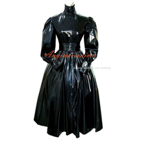 sissy maid Gothic lolita punk black PVC dress cosplay costume Tailor made