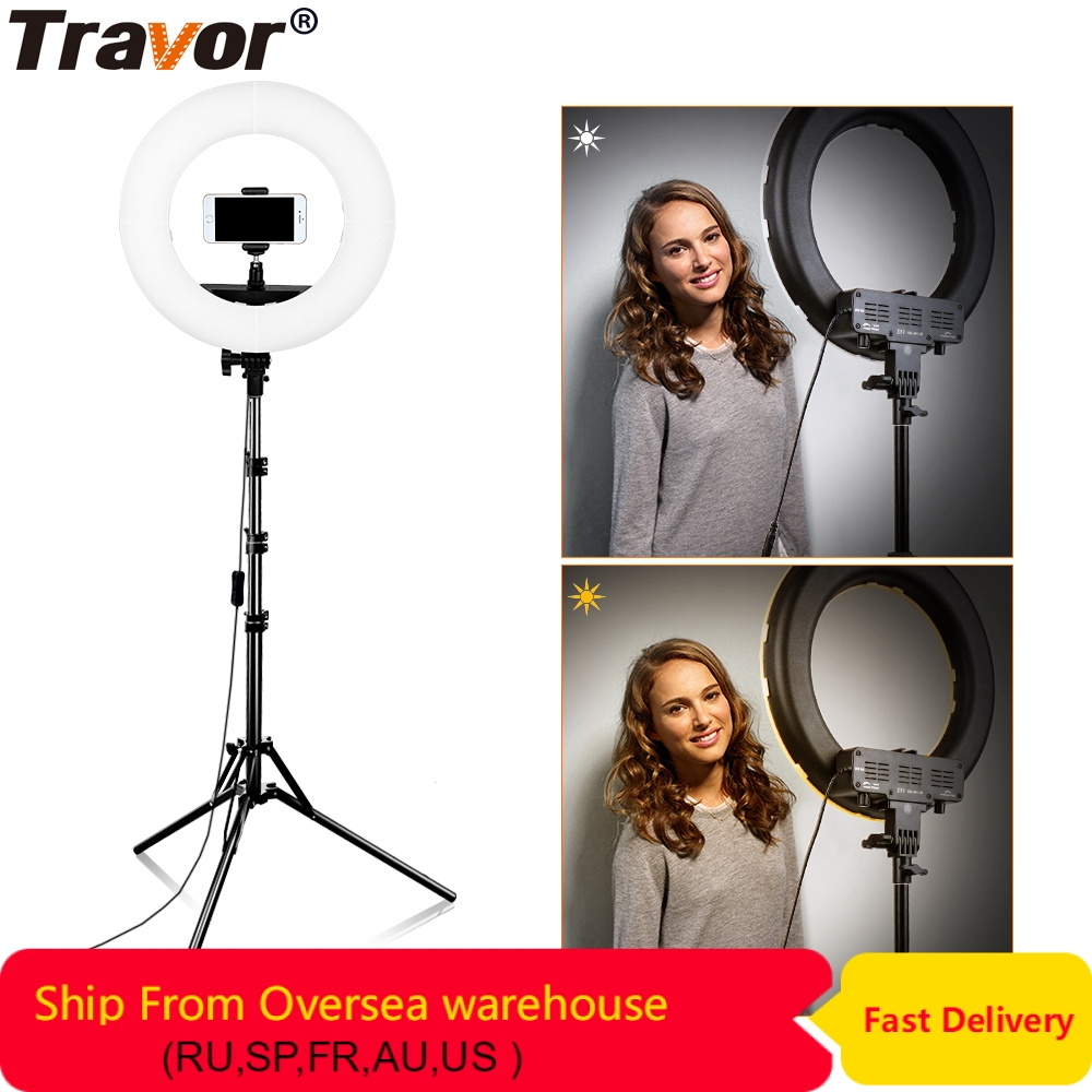 Travor 384pcs Bi Color LED Dimmable Ring Light 3200K 5500K 45W CRI90 Photography makeup Ring Light