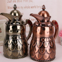 Heat Preservation Glass Liner Coffee Pots 1000ml Retro Bronze Open Kettle Thermos Bottle