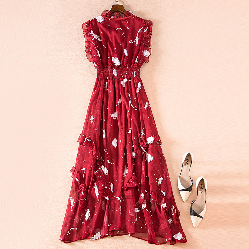 Partie Rouge De Plage Femmes Sexy Mousseline Élégant Mode Longue En Boho Vintage Nouvelles Robe Casual Chic Imprimer Haute D'été Soie Qualité Robes tsrdCQxhB