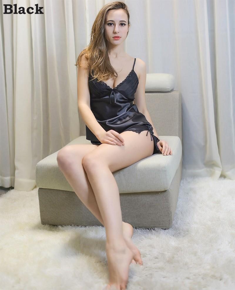 HTB1XjwMLFXXXXbBXXXXq6xXFXXXc - Solid Satin Chiffon Women Pajama Sets Spring Summer Night dress PTC  157