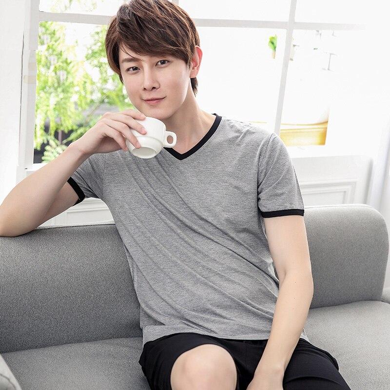 Men Pajamas Sets Short Sleeve Summer Male Pajama Set Men Pure Full Bamboo Fiber Pajamas For Men Set Sleepwear Spring Autumn