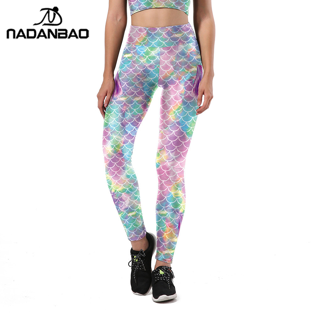 NADANBAO New Summer Colorful Mermaid Women Leggings Fish Scales Printing Sporting Fitness HIigh Waist Elastic Pants Trousers