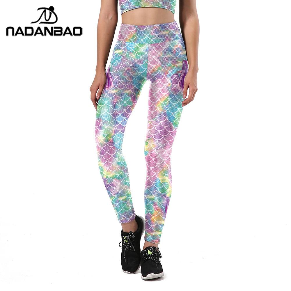 NADANBAO New Summer Colorful Mermaid Women Leggings Fish Scales Printing Sporting Fitness HIigh Waist Elastic Pants Trousers