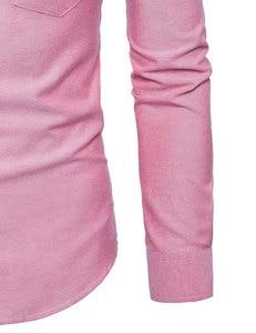 Image 5 - Męska koszulka Oxford Slim dopasowana sukienka marki stójka z długim rękawem koszulka Homme Casual business Office koszula z kieszenią czarna