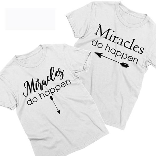 e0d69951d1c2b EnjoytheSpirit Miracles Do Happen Pregnancy Announcement Maternity Shirts  Pregnancy Announcement Couples Unisex T-shirts