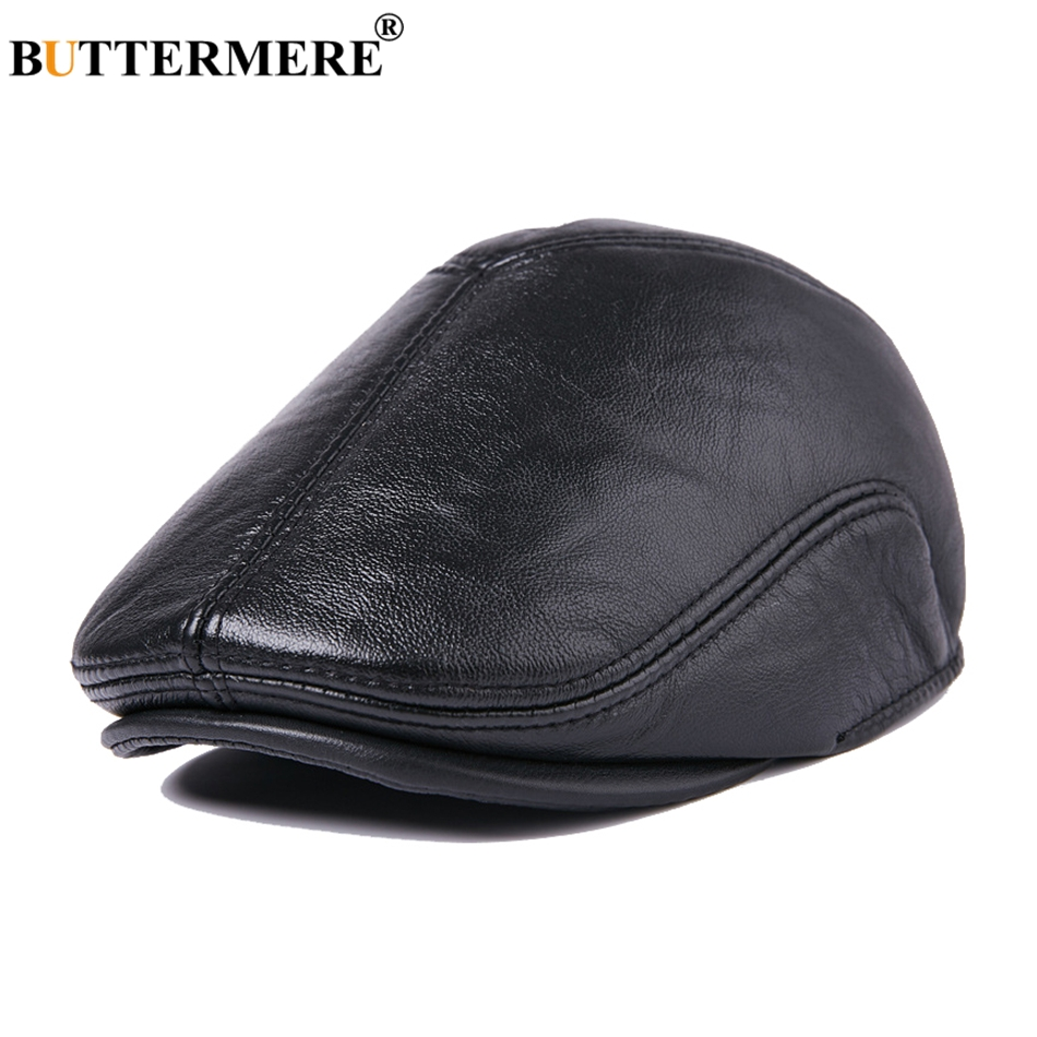 BUTTERMERE Mens Real Leather Beret Hat With Earflaps Vintage Black Cabbie Flat Caps Male British Style Winter Thick Duckbill Hat