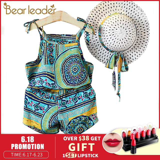 Bear Leader Girls Clothing Sets Summer New Special ethnic style holiday suits Girls printed camisole + casual shorts Send hat