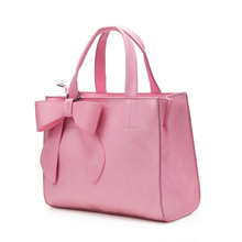 Sweet Style Bowknot Women Large Hand Bag 2016 New Fashion Plain PU Leather Ladies font b