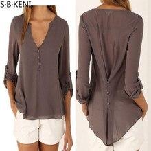 Sexy ruffle chiffon blouse shirt Autumn flare sleeve deep v neck women blouses 2017 Casual transparent streetwear blouse