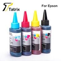 Tatrix Refill Dye Ink 4x100ML For Epson Ink Cartridge T1281 T0731 T1291 T0981 T0921 BK C