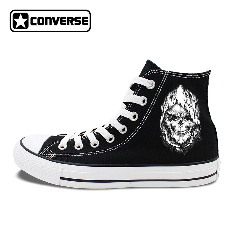 Death Skull Element Black Shoes Men Converse Canvas Sneakers High Tops Flat Chucks Taylor Women Skateboarding Shoes hand painted skull flower converse chucks men women skateboarding shoes floral canvas sneakers high top flats