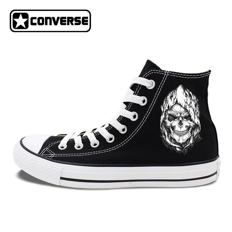 Death Skull Element Black Shoes Men Converse Canvas Sneakers High Tops Flat Chucks Taylor Women Skateboarding Shoes