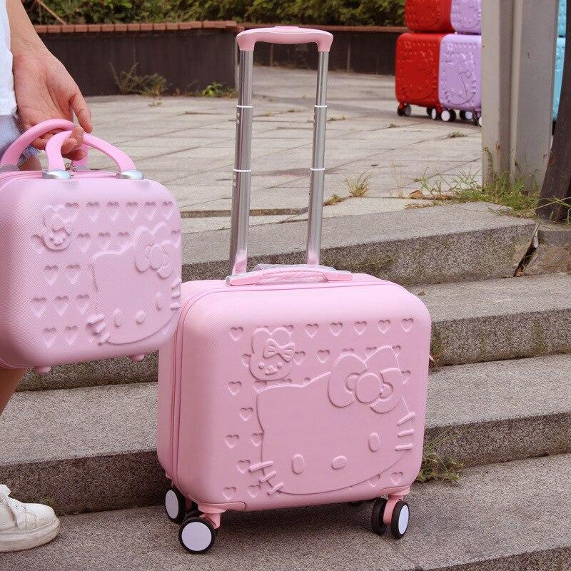 Оптовая продажа! 12 16 дюймов девочек ABS Hardside багаж наборы, розовый зеленый животных Универсальный колеса багаж для девочки