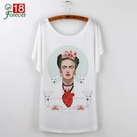 Camisetas Feminina Fashion Frida Kahlo Character Print T Shirts Harajuku Brand New Clothing For Lady White Tee Shirt Femme 2017
