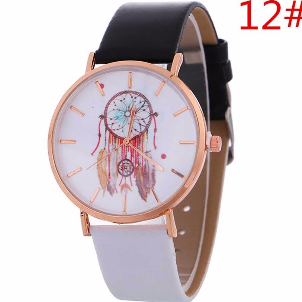 Hartig Vrouwelijke Horloge Vrouwen Windgong Patroon Quartz Horloge Lederen Band Riem Tafel Horloge Relogio Feminino Groothandel Gloednieuwe #60