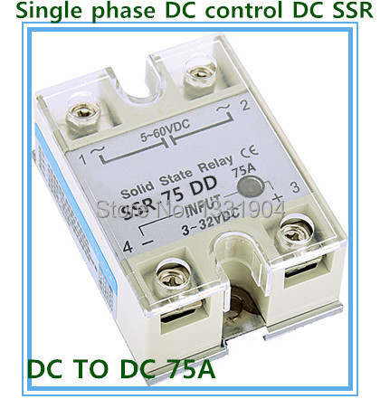 Free shipping 10pcs/lot Single phase solid state relay DC control DC  SSR-75DD 75A SSR relay input