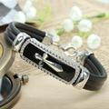 Encanto braclet hombres mujeres pulseras y brazaletes de cuero cruz titanium braslet pulseiras de couro para los mejores amigos de regalo de navidad