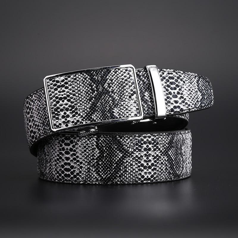 Automatic Buckle Strap New Genuine Leather Snake Grain Belt For Men Hot Ceinture Men Belts Luxury Designer High Quality